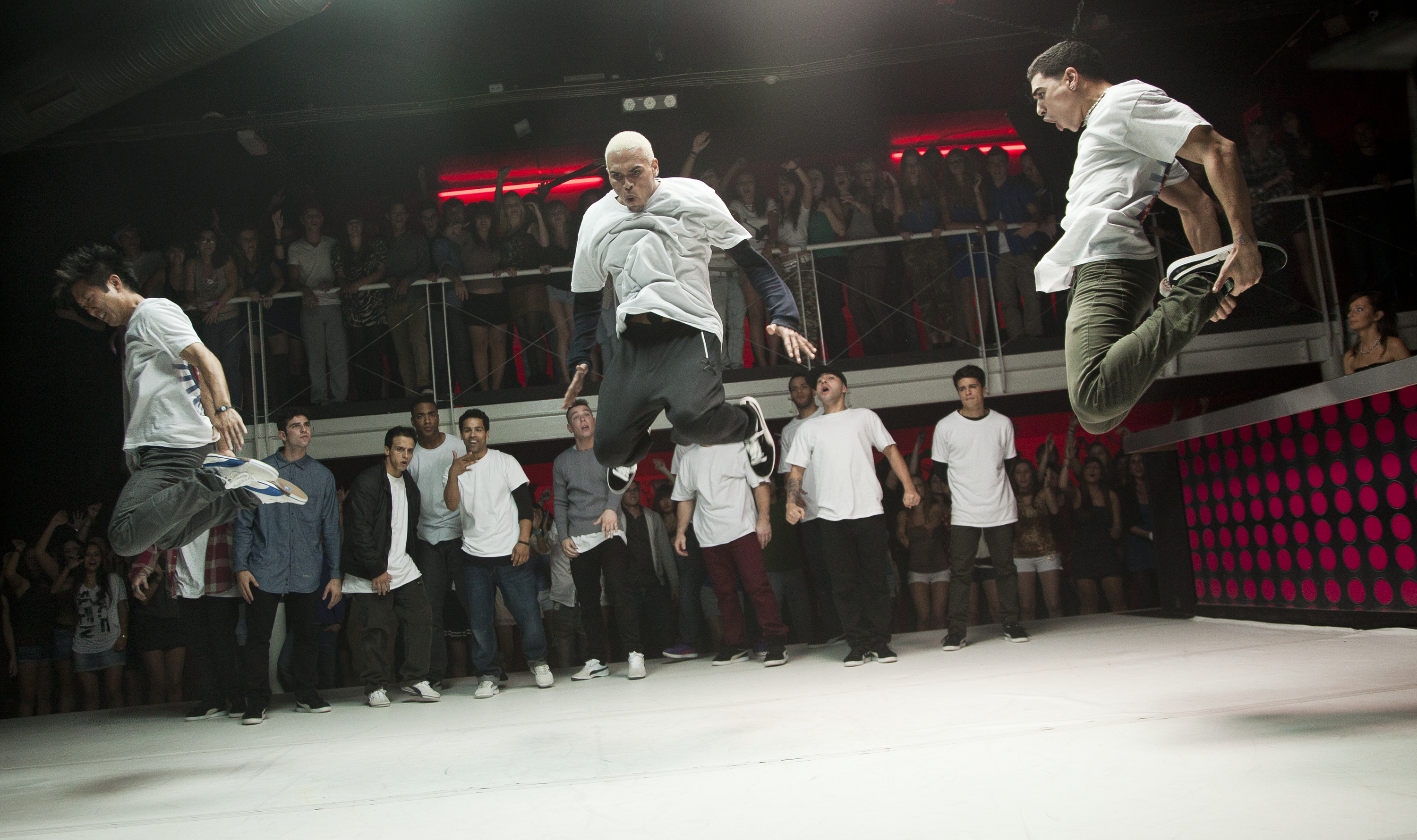 Team USA's b-boys (including rapper Chris Brown, center) perform in competition. (Photo: Sony Pictures)