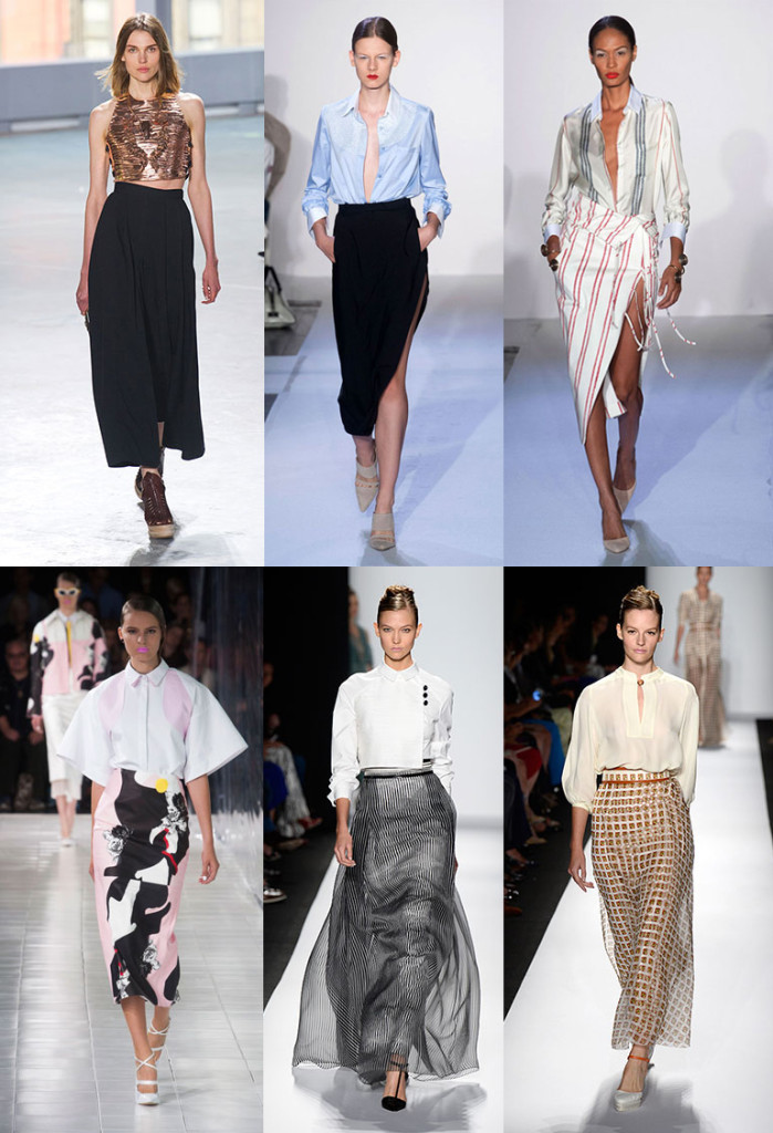 NYFW inspiration: long skirts. With a sexy side slit or perfectly placed at the waist, these skirts are lengthening and elegant all at once. (Photos via harparsbazaar.com)