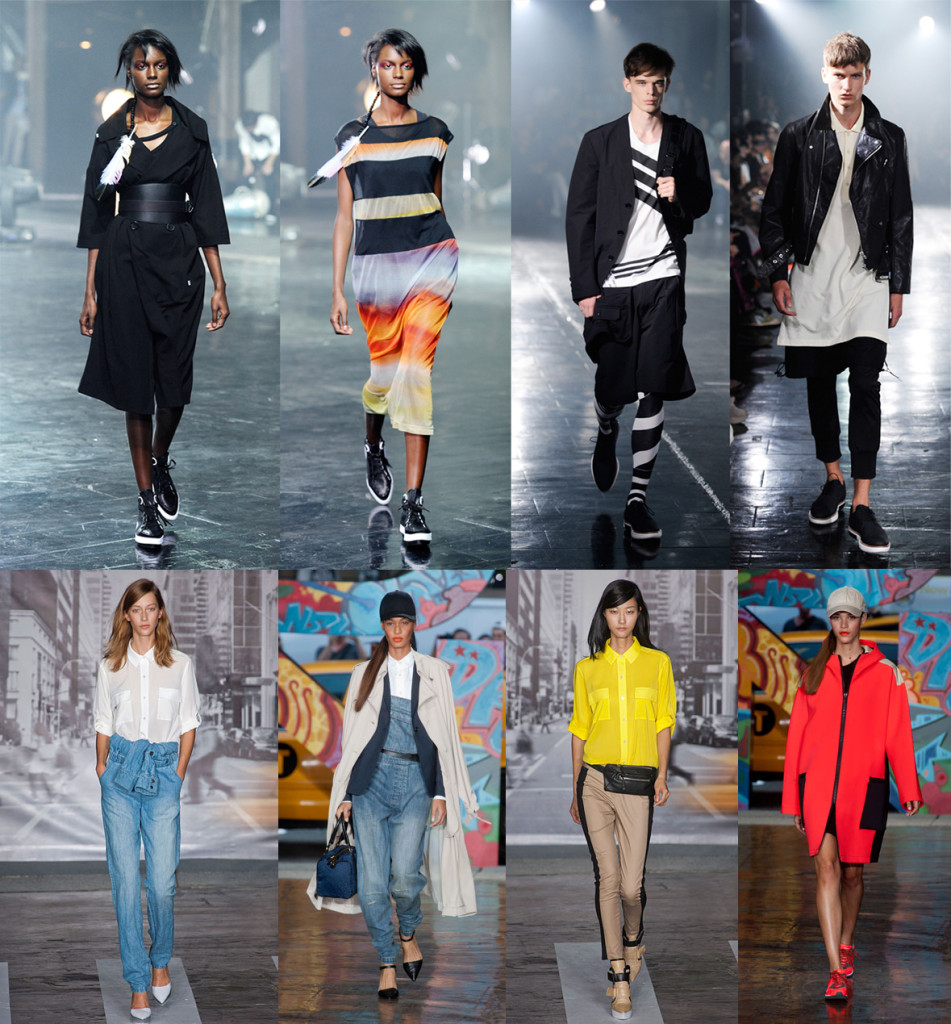 The Addidas and DKNY runway shows featured interesting mixes of urban wear. Sophisticated sporty looks made for wearing on urban streets. (Photos via Getty Images and harpersbazaar.com)