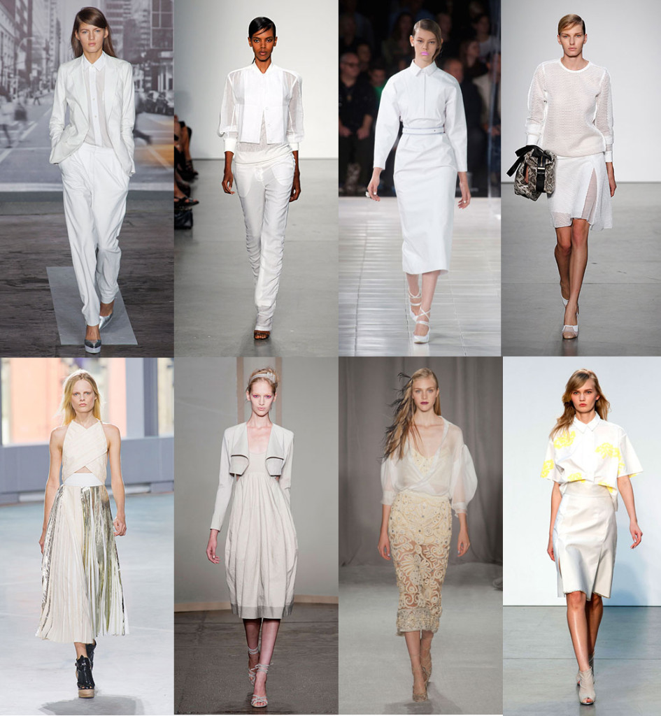 Forget winter whites, whites and ivories were all over the runways for spring. Instead of pastels and pinks, think of refreshing and bright off-whites and cream colors. (Photos via harparsbazaar.com)