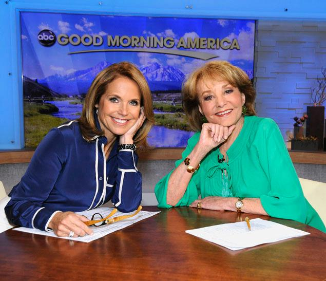 Katie Couric and Barbara Walters got together last year when Couric guest-hosted Good Morning America. (Photo: Donna Svennevik/ABC)