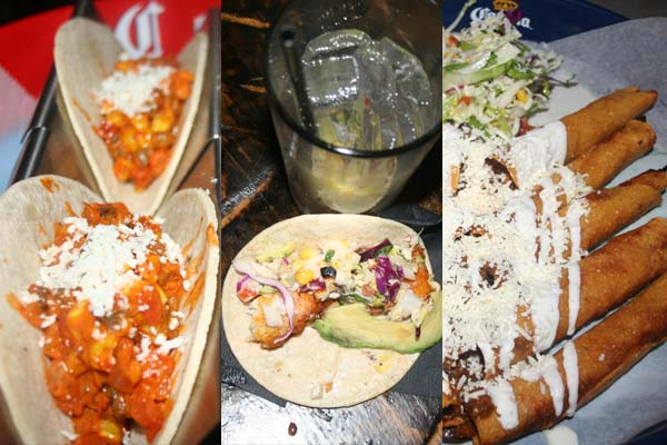 Dishes at Georgetown include chipotle BBQ tacos with grilled chicken, cilantro ranch and cotija cheese; baja tacos with beer battered fish, Mexican slaw, tomato, corn, avocado and chipotle aioli; and chicken flautas with morita salsa, bean puree and crema fresca. (Mark Heckathorn/DC on Heels)
