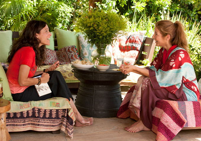 Eva (Julia Louis-Dryfus) and Marianne (Catherine Keener) talk after a massage session. (Photo: Fox Searchlight)