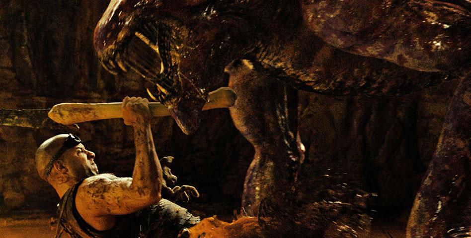 Vin Diesel battles a monster in Riddick. (Photo: Universal Pictures)