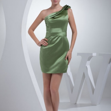 A green satin, one shoulder short/mini sleeveless bridesmaid dress. (Photo: thegreenguide.com)