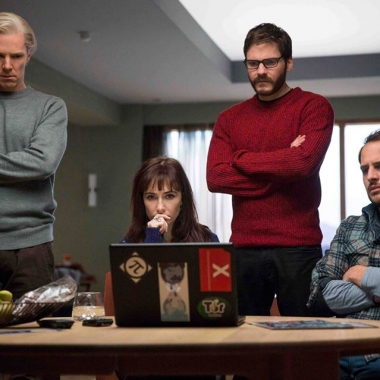 Benedict Cumberbatch (Julian Assange), Carice van Houten (Birgitta Jónsdóttir), Daniel Brühl (Daniel Domscheit-Berg) and Moritz Bleibtreu (Marcus) star in The Fifth Estate. (Photo: DreamWorks Studio)