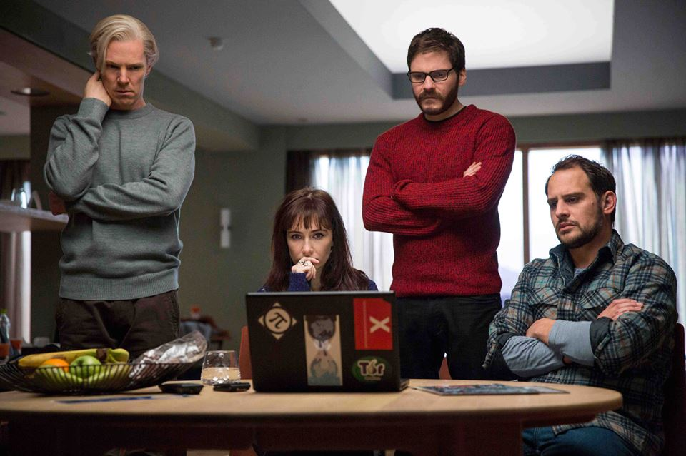 Benedict Cumberbatch (Julian Assange), Carice van Houten (Birgitta Jónsdóttir), Daniel Brühl (Daniel Domscheit-Berg) and Moritz Bleibtreu (Marcus) star in The Fifth Estate. (Photo: DreamWorks Studio)