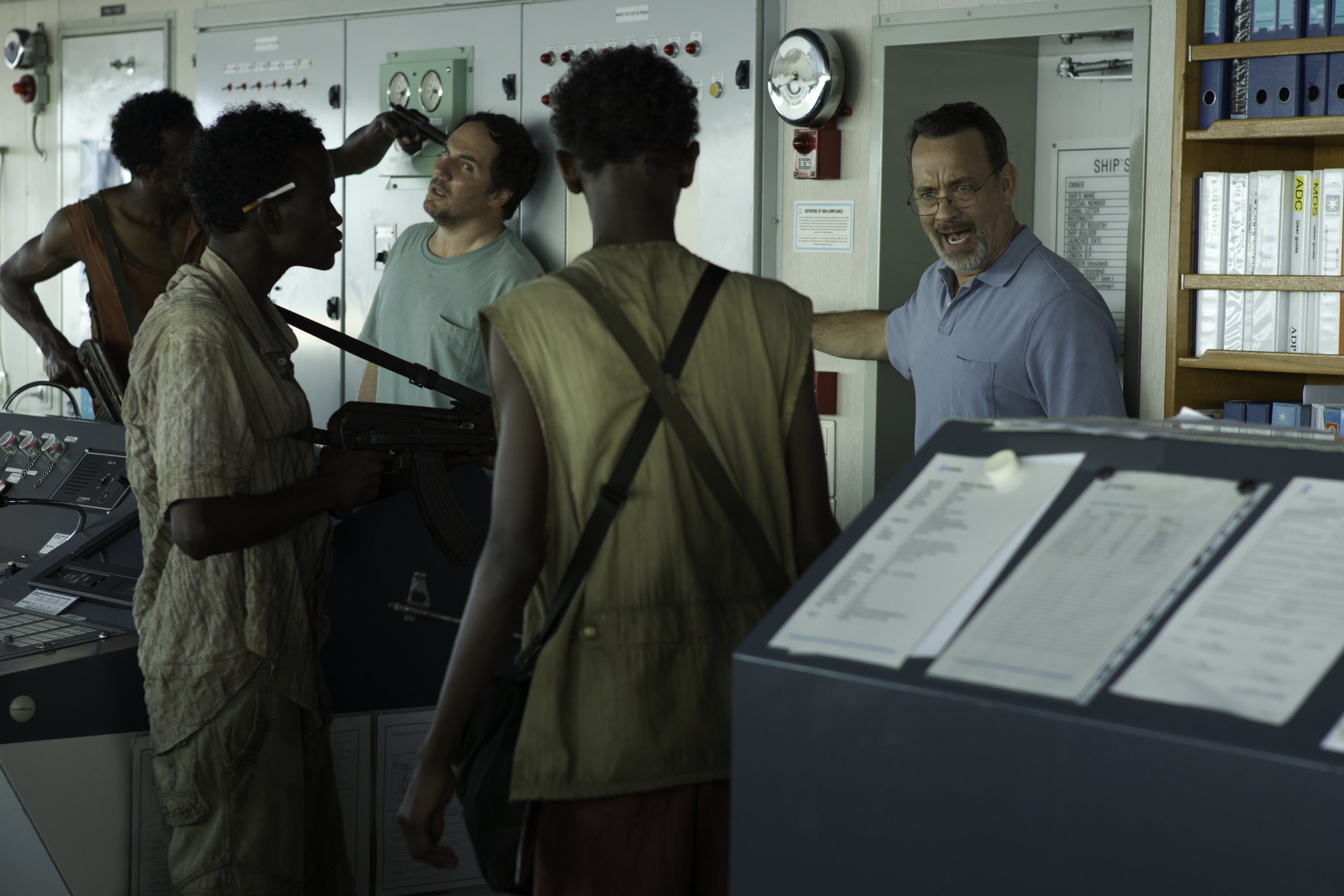 Somali pirates take Captain Richard Phillips (Tom Hanks) and his cargo ship hostage in Captain Phillips. (Photo: Sony Pictures)