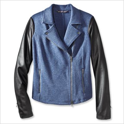 Moto jacket with leather sleeves from Armani Exchange. (Photo: Armani Exchange)