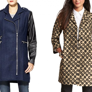 Wool coat with vegan leather sleeves (left) by Calvin Klein at piperlime.com, $163 Floral leopard jacquard topper (right) at anntaylor.com, $198 (Graphic: Mark Heckathorn/DC on Heels)