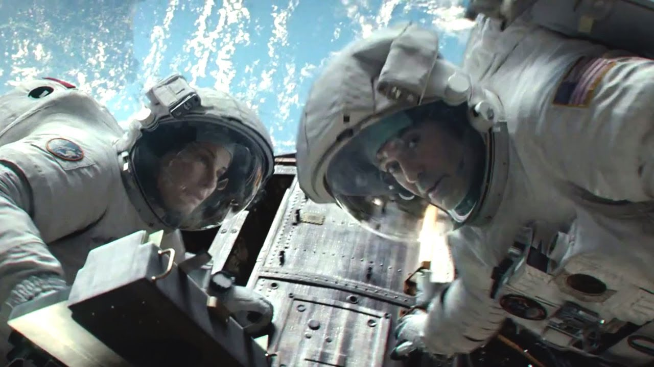 Sandra Bullock and George Clooney play two astronauts who find themselves floating in space after the shuttle explodes. (Photo: Warner Bros.)