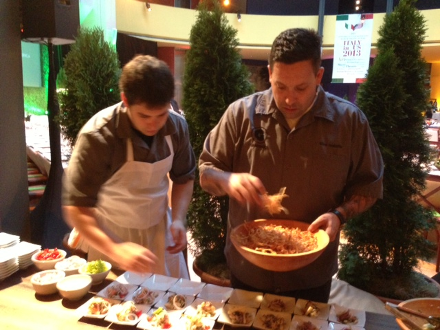 Chef Mike Isabella prepping Scungilli salad w/ calamari and octopus (Photo: Richard Barry/DC on Heels)