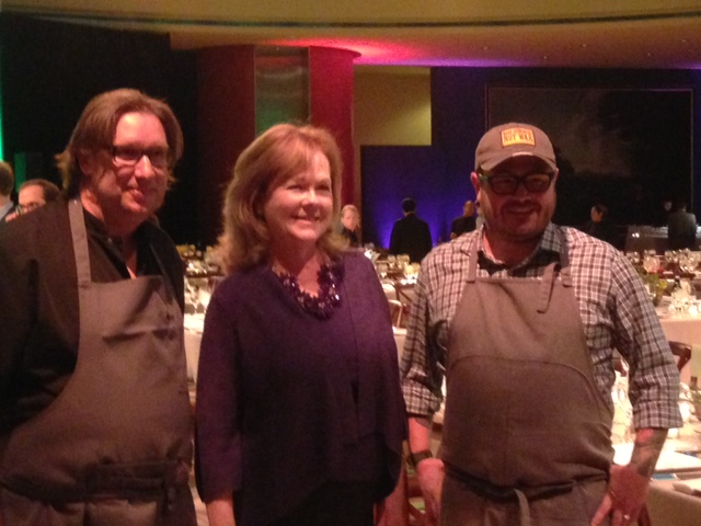 James Beard President Susan Ungaro (center) with Chef RJ Cooper, Rogue 24 (Left) and Chef Sean Brock, Husk (Right) (Photo: Richard Barry/DC on Heels)