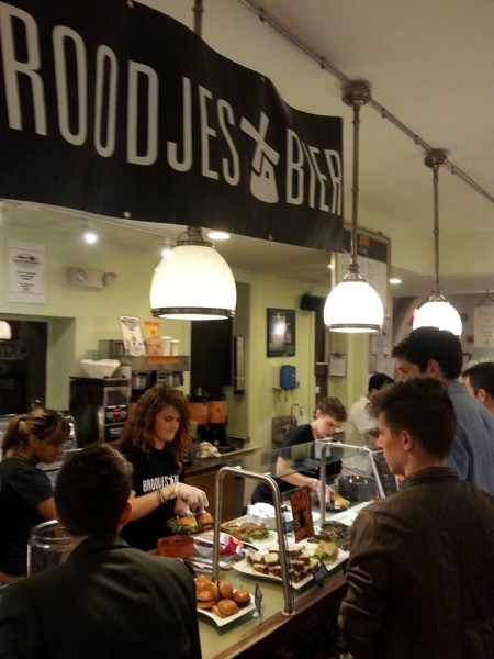 People lining up for Broodjes & Bier's first pop-up last month at the Silver Spork (Photo: Jennifer Moss)