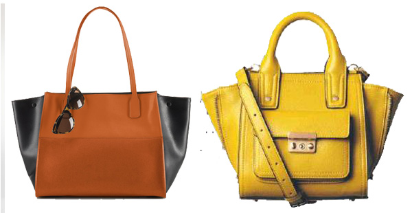 Newbury color-blocked tote (left) by Ralph Lauren, $278.00, 3.1 Phillip LIm for Target mini-stachel in yellow at select stores, $34.99 (Graphic: Mark Heckthorn/DC on Heels)