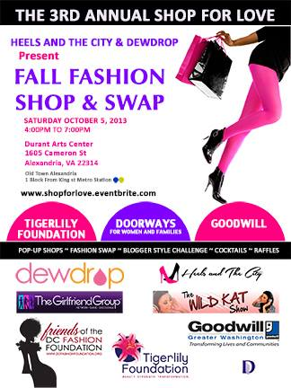 Dewdrop and Heels and the City are hosting the Third Annual Shop for Love: Fall Shop & Swap this Saturday in Alexandria, VA.
