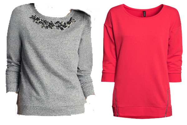 Floral gem and bead embellished sweatshirt (left) from loft.com, $59.50. Long sweatshirt with zips at front and.3/4-length sleeves (right)  from hm.com, $24.95. (Graphic: Mark Heckathorn/DC on Heels)