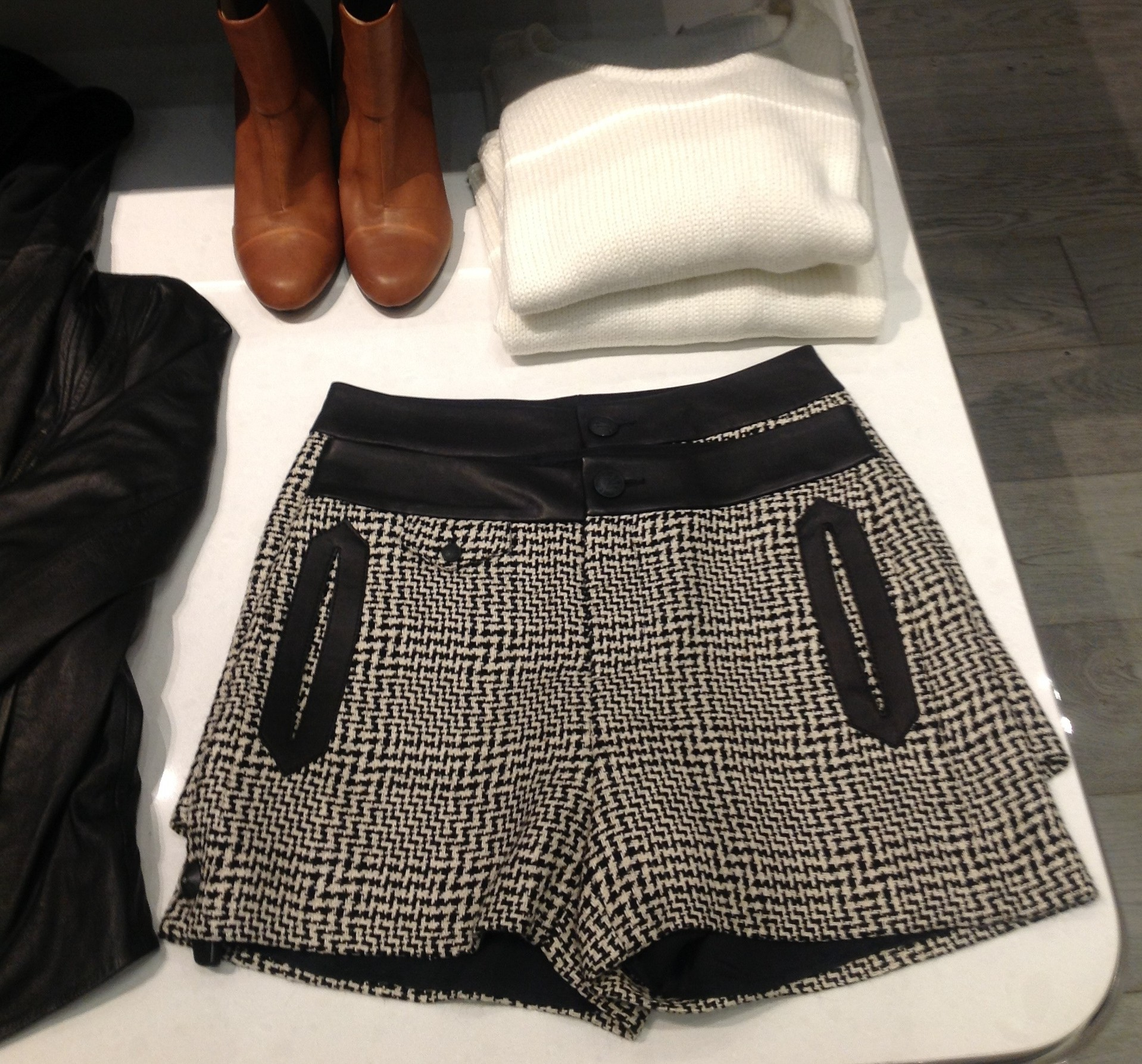 Black and white houndstooth shorts with black leather trim from Rag & Bones. (Photo: Shari Sheffield/DC on Heels)
