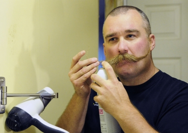 Andy Longtine of Plover, Wis., is competing Nov. 2 in the 2013 World Beard and Moustache Championships in Leinfelden-Echterdingen, Germany. (Photo: Casey Lake/The Stevens Point Journal)
