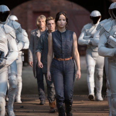 Haymitch Abernathy (Woody Harrelson, left), Peeta Mellark (Josh Hutcherson, center and Katniss Everdeen (Jennifer Lawrence, right) in The Hunger Game: Catching Fire. (Photo: Murray Close/Lionsgate)