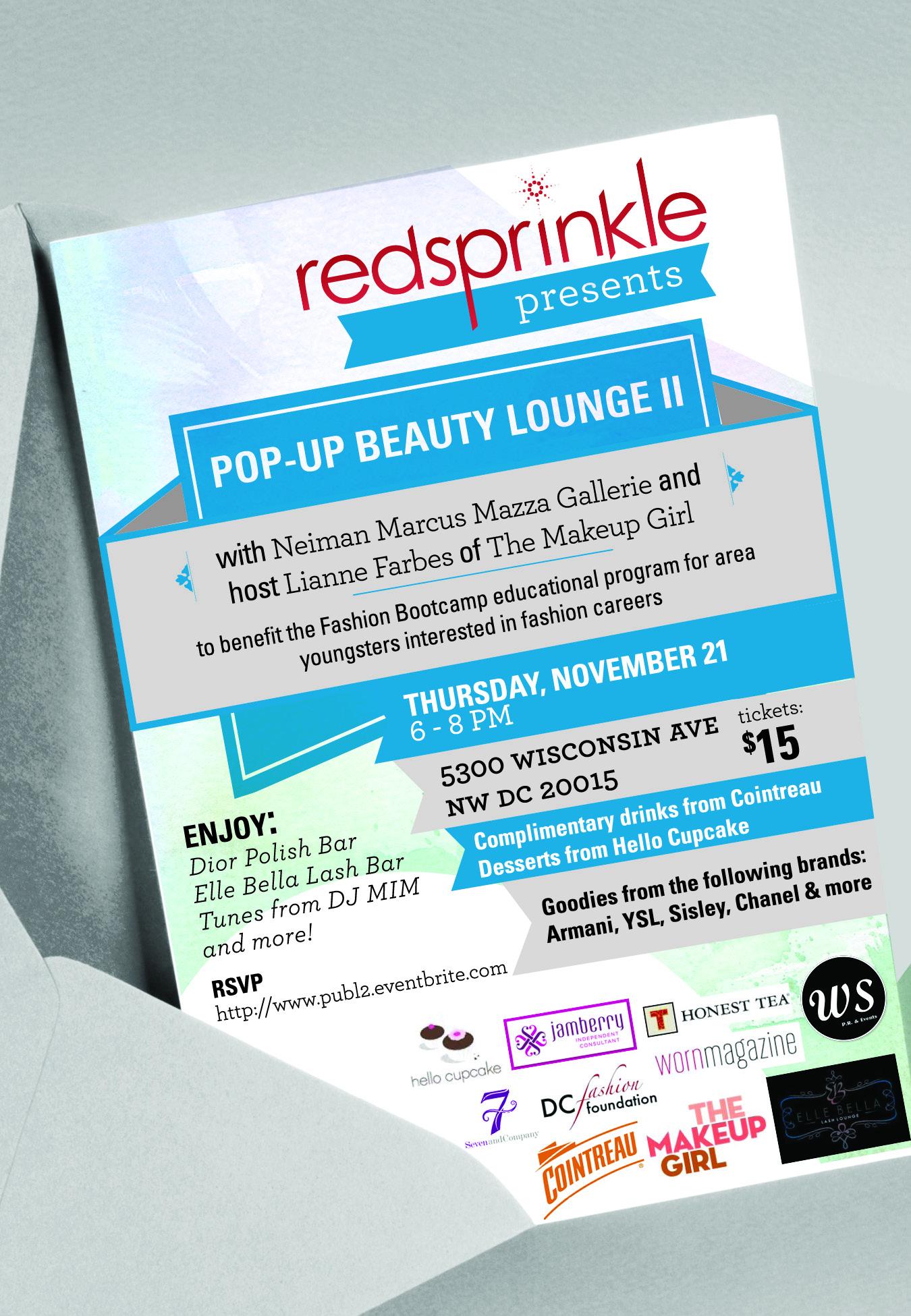 Red Sprinkle Neiman Marcus Beauty Lounge Invite Nov 21