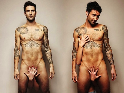 Adam Levine and former girlfriend Anne V posed naked in Vogue Russia's November 2011 issue. (Photo: Vogue)