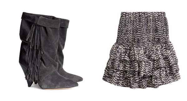 Suede boots (left) and ruffled skirt by  Isabel Marant for H&M. (Photo: H&M)