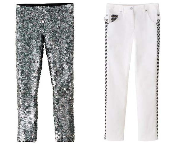 Sequin pants (left) and white jeans by Isabel Marant for H&M. (Photo: H&M)