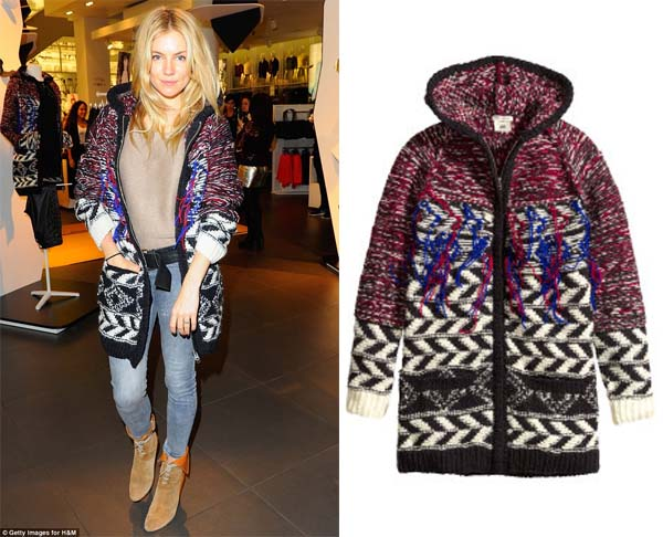 Sienna Miller in Isabel Marant for H&M cardigan. (Photo: Getty Images for H&M/H&M)