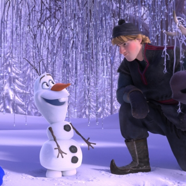Anna, Kristoff and Sven the reindeer meet Olaf the snowman. (Photo: Walt Disney Animation Studios)