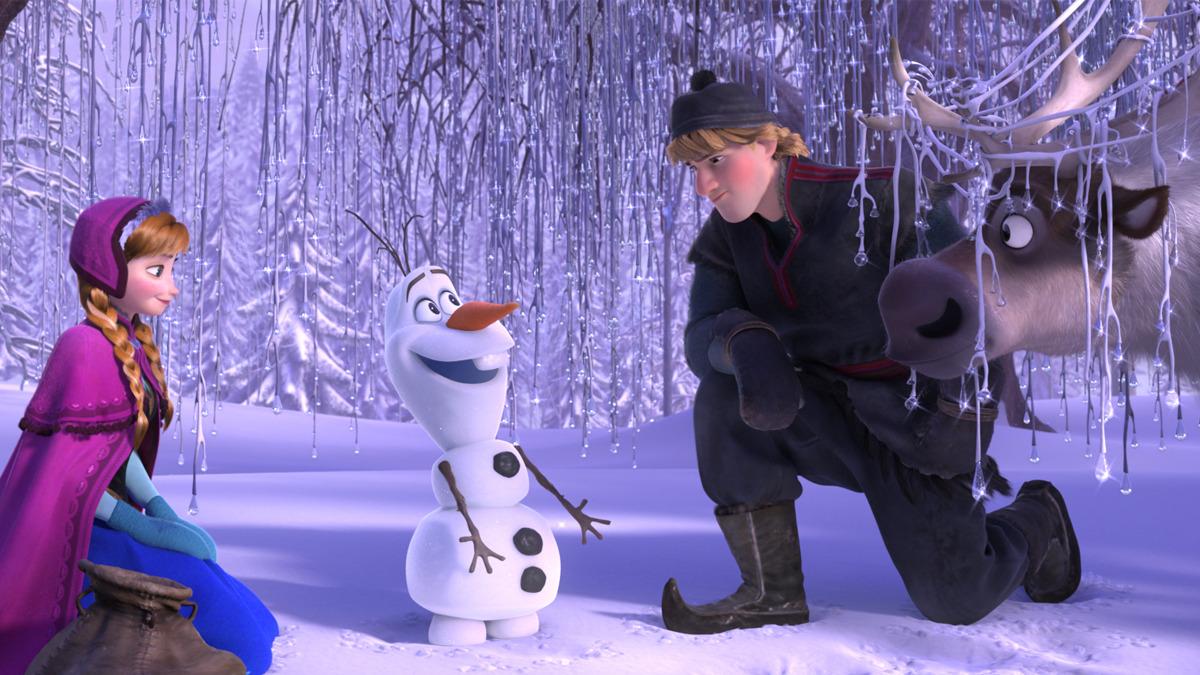 Anna, Kristoff and Sven the reindeer meet Olaf the snowman. (Photo: Walt Disney Animation Studios)
