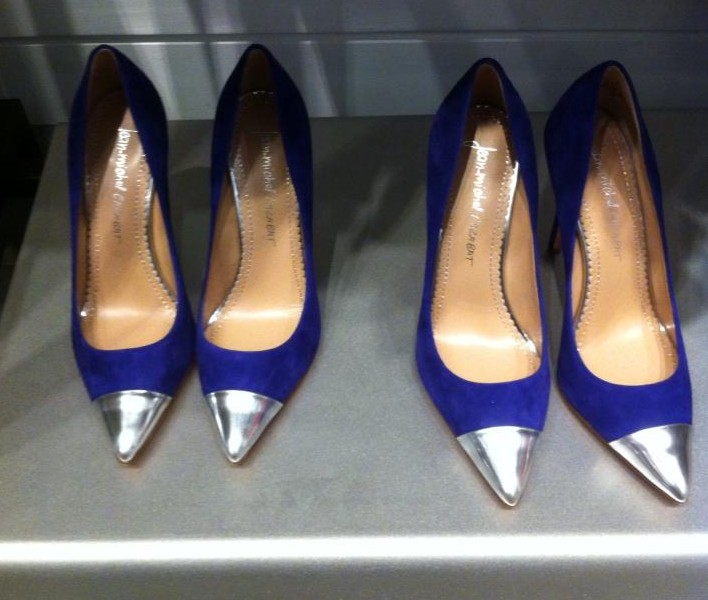 Jean-Michel Cazabat pointy toe color block pumps in purple. (Photo:: Shari Sheffield/DC on Heels)