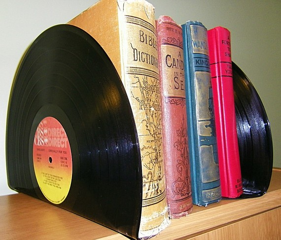 If you're not big into DIY, check out these vinyl record bookends on Etsy. (Photo: retrograndma/Etsy.com)
