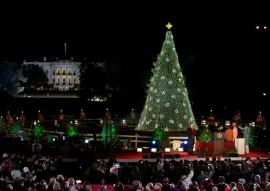 President Barack Obama, First Lady Michelle Obama and their daughters participate in the lighting of the 2012 National Christmas Tree. (Photo: Lawrence Jackson/The White House)