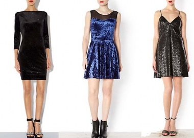Some evening gowns perfect for your Christmas and New Year's Eve parties (from left): a black sparkle velvet 3/4 sleeve bodycon dress, a blue mesh insert velvet skater dress and a black sequin slip dress. (Photo: New Look)