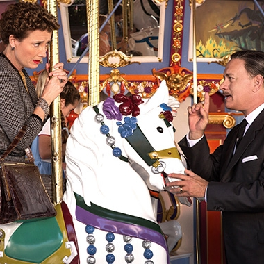 PL Travers (Emma Thompson) and Walt Disney (Tom Hanks) on the carousel at Disneyland. (Photo: Walt Disney Studios)