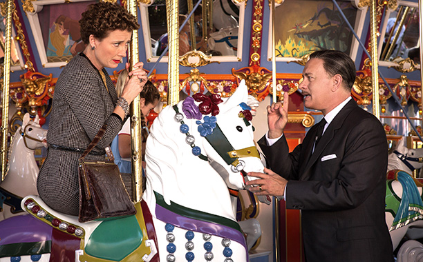 P.L. Travers (Emma Thompson) and Walt Disney (Tom Hanks) on the carousel at Disneyland. (Photo: Walt Disney Studios)