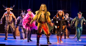 """""""The Lion, the Unicorn and Me"""" at the WNO features from left, Norman Garrett as the Elk, Ian McEuen as the Hippo, Lisa Williamson as the Flamingo, Soloman Howard as the Lion, Deborah Nansteel as the Cat, Patrick O'Halloran as the Stagehand and Wei Wu as the Lizard. (Photo: Scott Suchman)"""