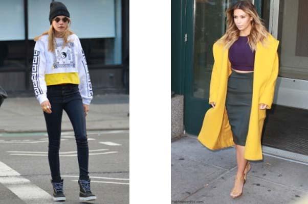 Left: Cara Delevingne (Photo: DHStyles blog). Right: Kim Kardashian (Photo: FabFashionFix)