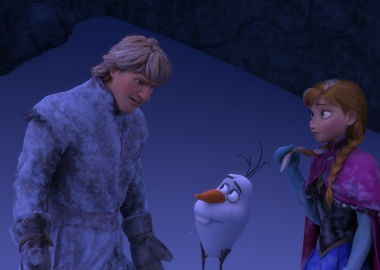 Kristoff, Olaf the Snowman and Princess Anna in Frozen. (Photo: Walt Disney Animation)