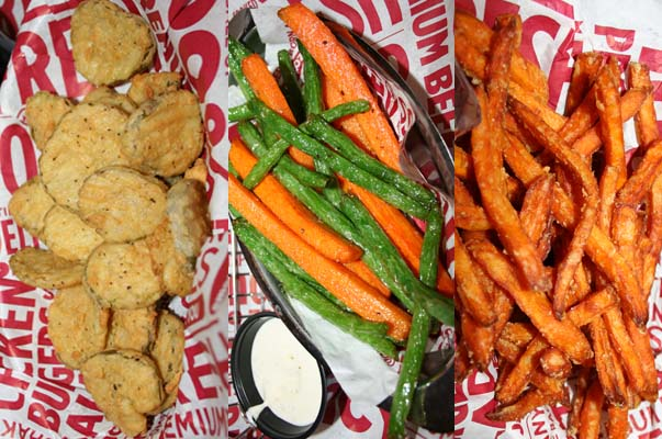 Deep-fried pickles from the secret menu (left to right), veggie frites and sweet potato fries. (Photo: Mark Heckathorn/DC on Heels)