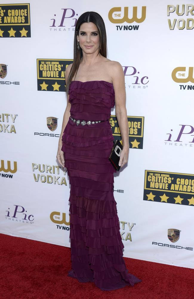 Sandra Bullock in Raspberry Lanvin Ruffled Gown (Photo: Hollywood Reporter)