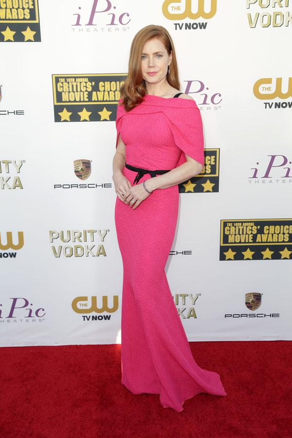 Amy Adams in pink Roland Mouret gown (Photo: Trend 911)