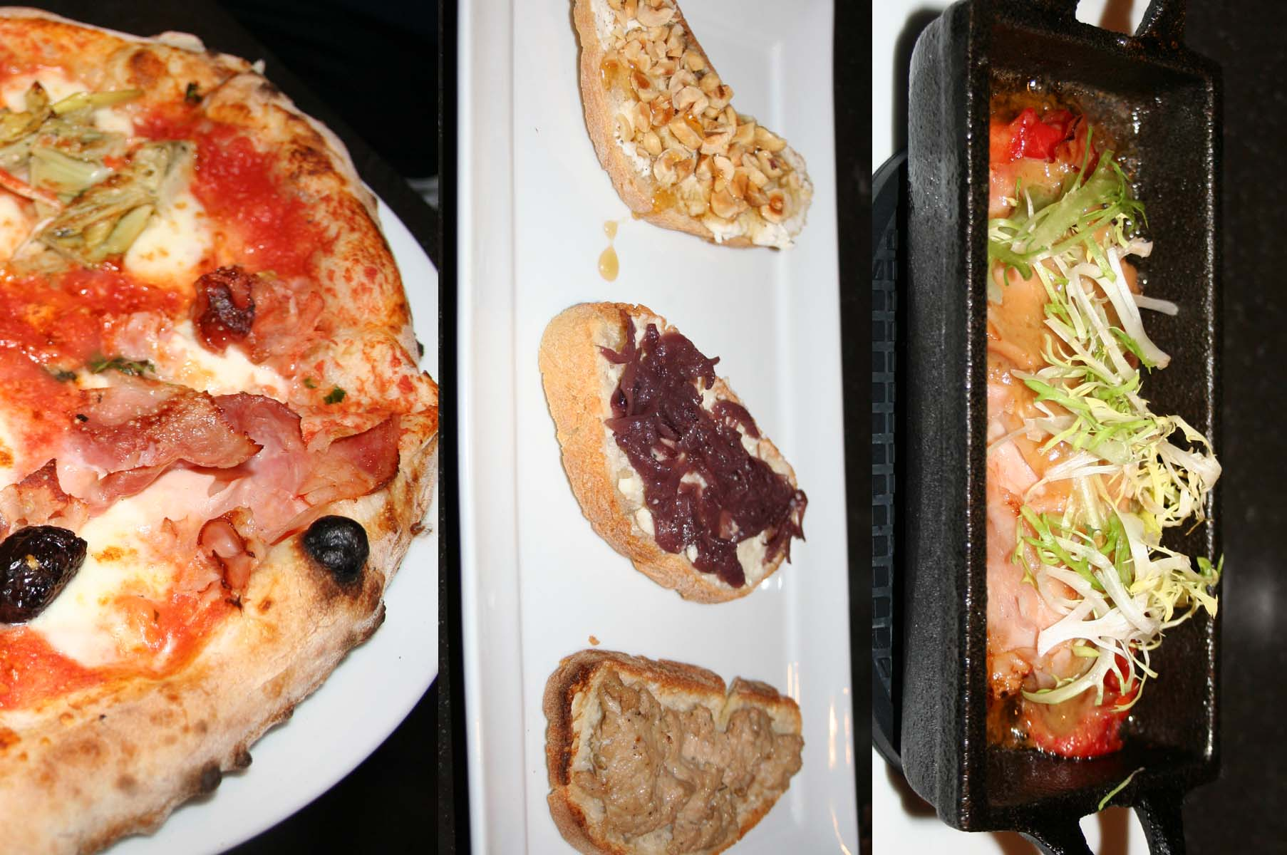Starters include wood-oven pizzas like the quattro stagioni (left), or warm appetizers including crostini piemontesi (center) or peperoni all'astigiana (right). (Photos: Mark Heckathorn/DC on Heels)