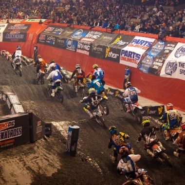 A race at AMSOIL's Arenacross last weekend in Worchester, Mass. (Photo: Shiftone Photography)