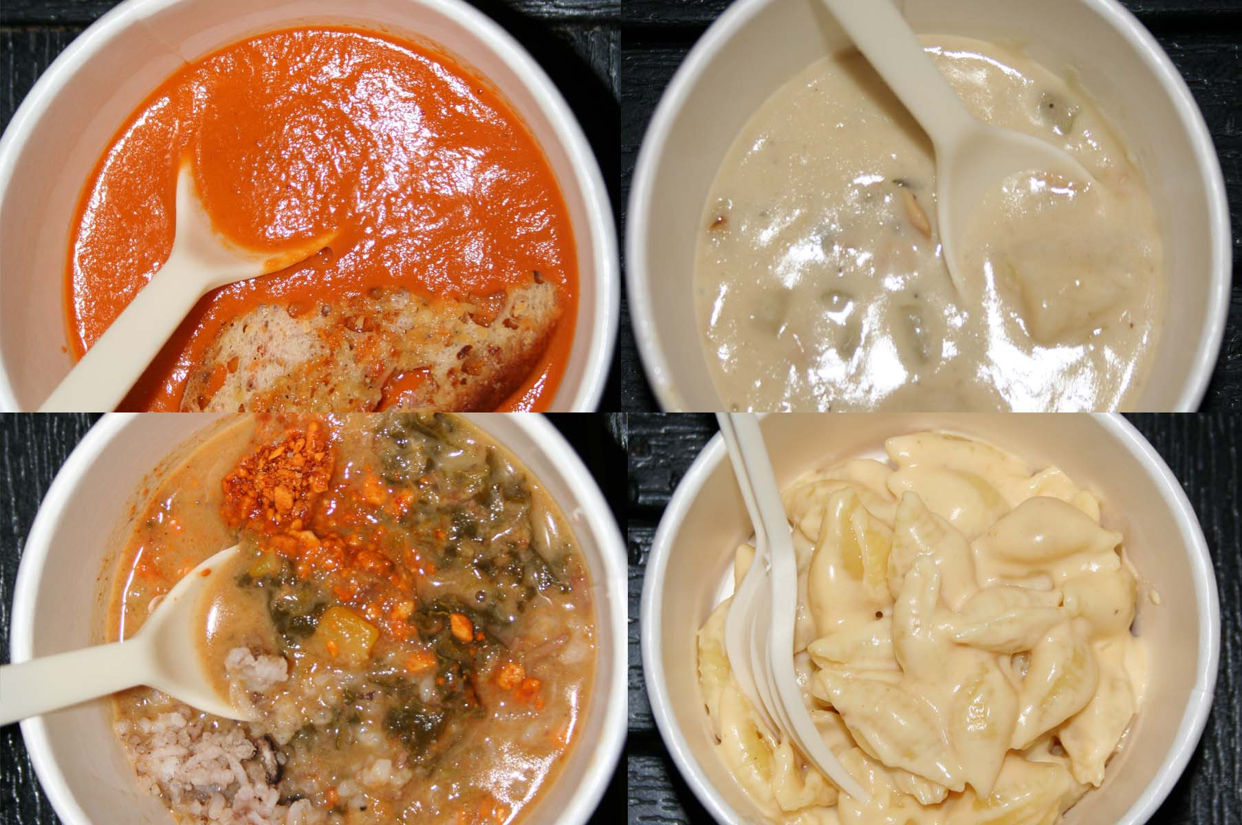 The opening week bowls -- (clockwise from top left) cream of tomato soup, New England clam chowder, macaroni and cheese, and Jamaican curry goat stew . (Photo: Mark Heckathorn/DC on Heels)