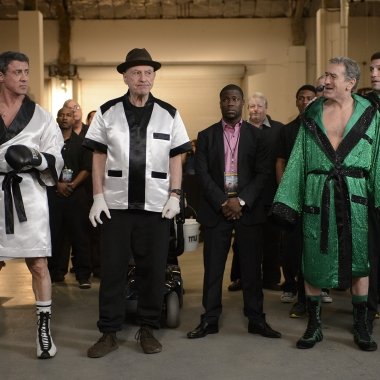 Sylvester Stallone, Alan Arkin, Kevin Hart, Robert De Niro and Jon Bernthal (l to r) in Grudge Match. (Photo: Warner Bros.)