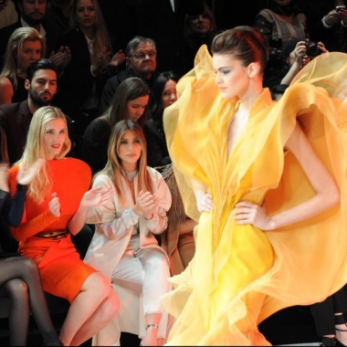 Kim Kardashian looks on from the front row at Stephane Rolland (Photo: NY Daily News)