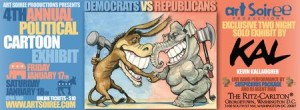 Democrats vs. Republicans, a political cartoon exhibit (Graphic: Art Soriee)