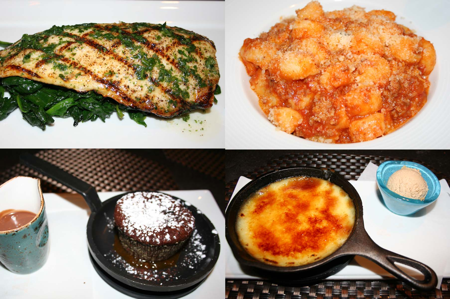 Entrees include grilled rainbow trout (clockwise from upper left) and gnocchi with sausage ragu, while desserts include polenta bianco and torta gianduja. (Photos: Mark Heckathorn/DC on Heels)